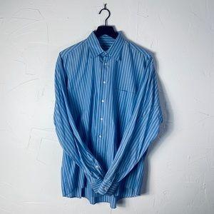 Giorgio Armani Blue Stripe Mens Dress Shirt, 34